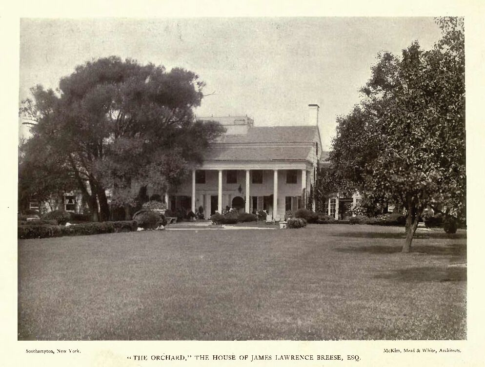 The Orchard (the residence of James L. Breese), McKim, Mead and White (architects), Southampton, New York, 1906 in Barr Ferree, American Estates and Gardens (New York: Munn and Company, 1904), 174. Google Books.