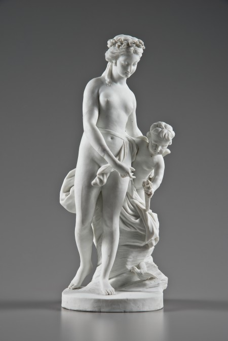 Bisque porcelain figural groups of Venus and Cupid with Garland and Venus and Cupid with Torch, made by Locré et Russinger, Paris, c. 1785. Purchased with funds provided by David W. Dangremond and collections funds, 2013 (M-5333).