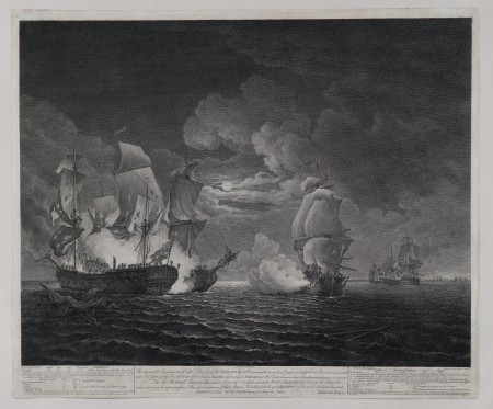 The Memorable Engagement of Capt'n Pearson of the Serapis, with Paul Jones of the Bon Homme Richard & his Squadron, Sept. 23, 1779, engraving by Daniel Lerpinière (published in London, 1781). Purchased with funds provided by Daniel K. Chandler and Neysa M. Slater-Chandler, 2011 (M-5261).