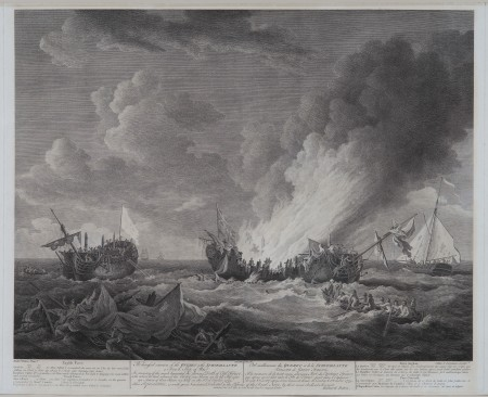 The distressed situation of the Quebec & the Surveillante, a French Ship of War, engraving by Daniel Lerpinière (published in London, 1780). Collection of R.T.H.Halsey. Purchase, 1936 (M-93/t).