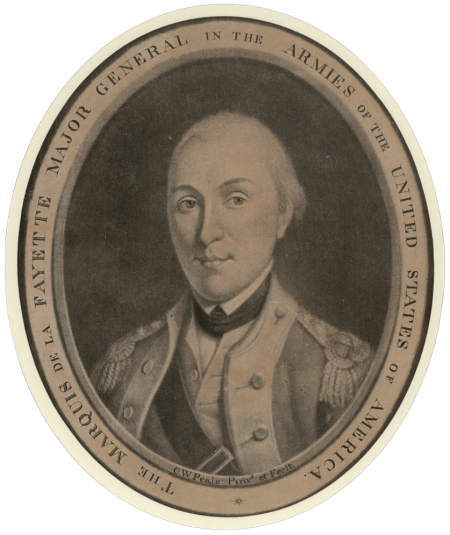 Portrait of the Marquis de Lafayette, mezzotint by Charles Willson Peale, Original engraving: Purchase, 1989 (M-2086/B).