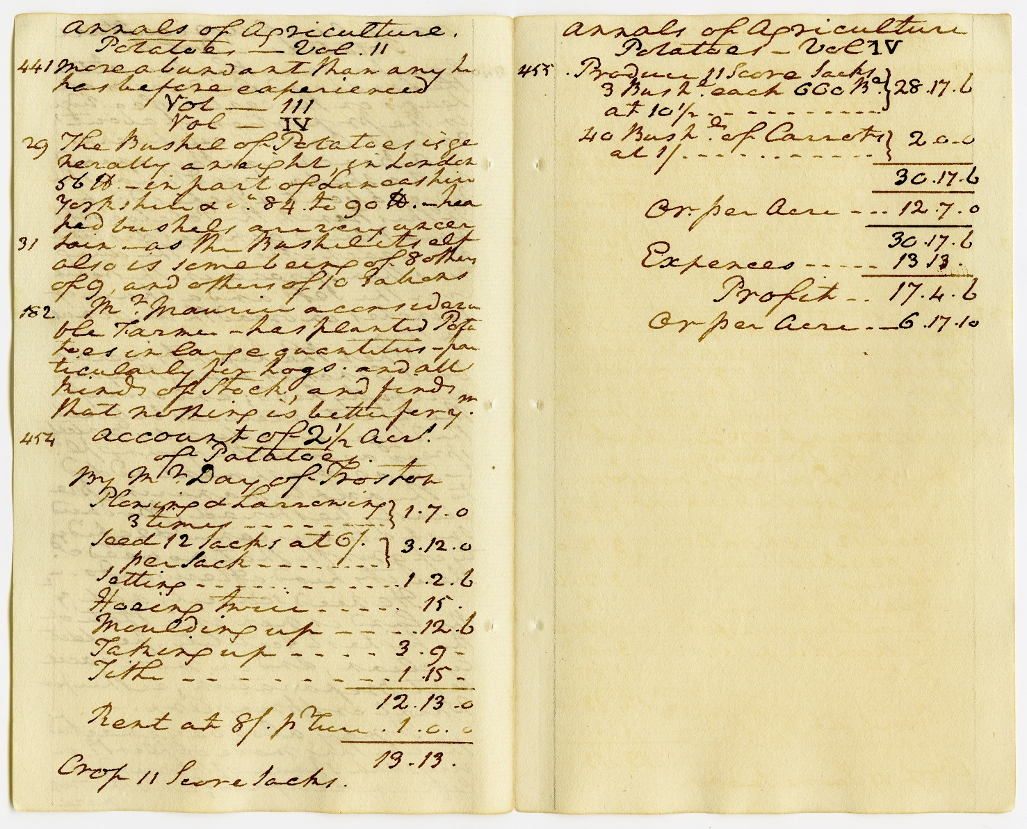 "George Washington's ""Extracts from the Annals of Agriculture – Account of 2 ½ Acres of Potatoes,"" ca. 1786, Courtesy of Manuscript Division, Library of Congress, Washington D.C."