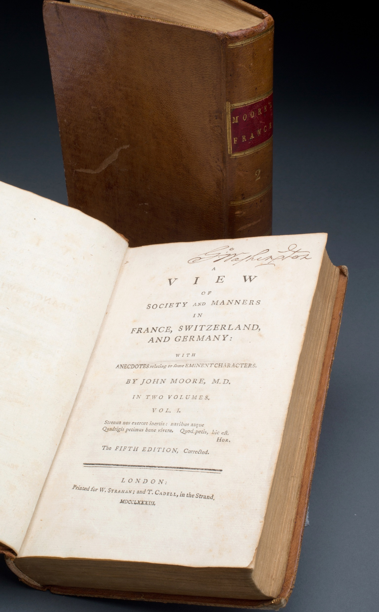 George Washington's copy of A View of Society and Manners in France, Switzerland, and Germany, 1783, by John Moore, MVLA.