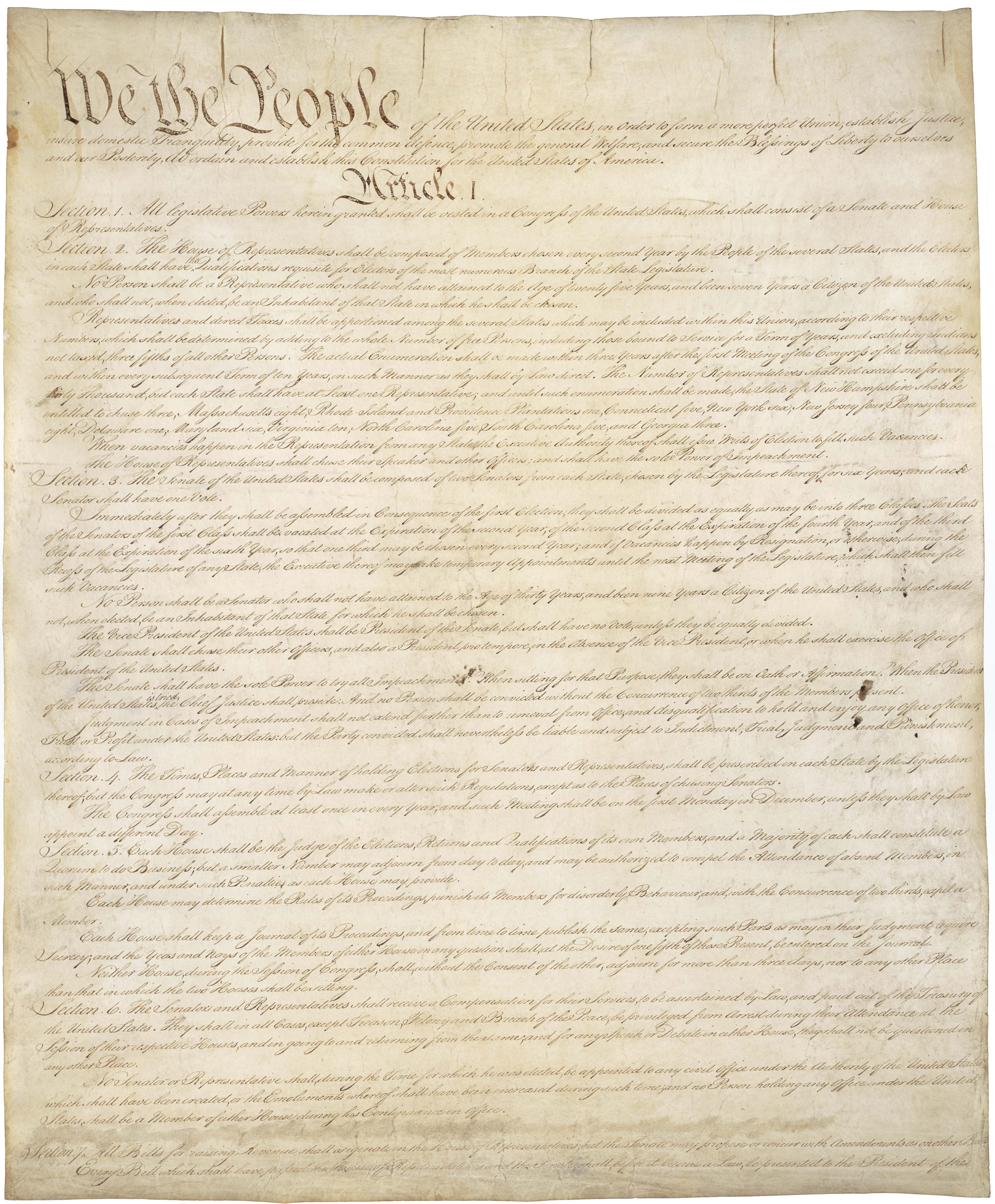 Constitution of the United States, National Archives