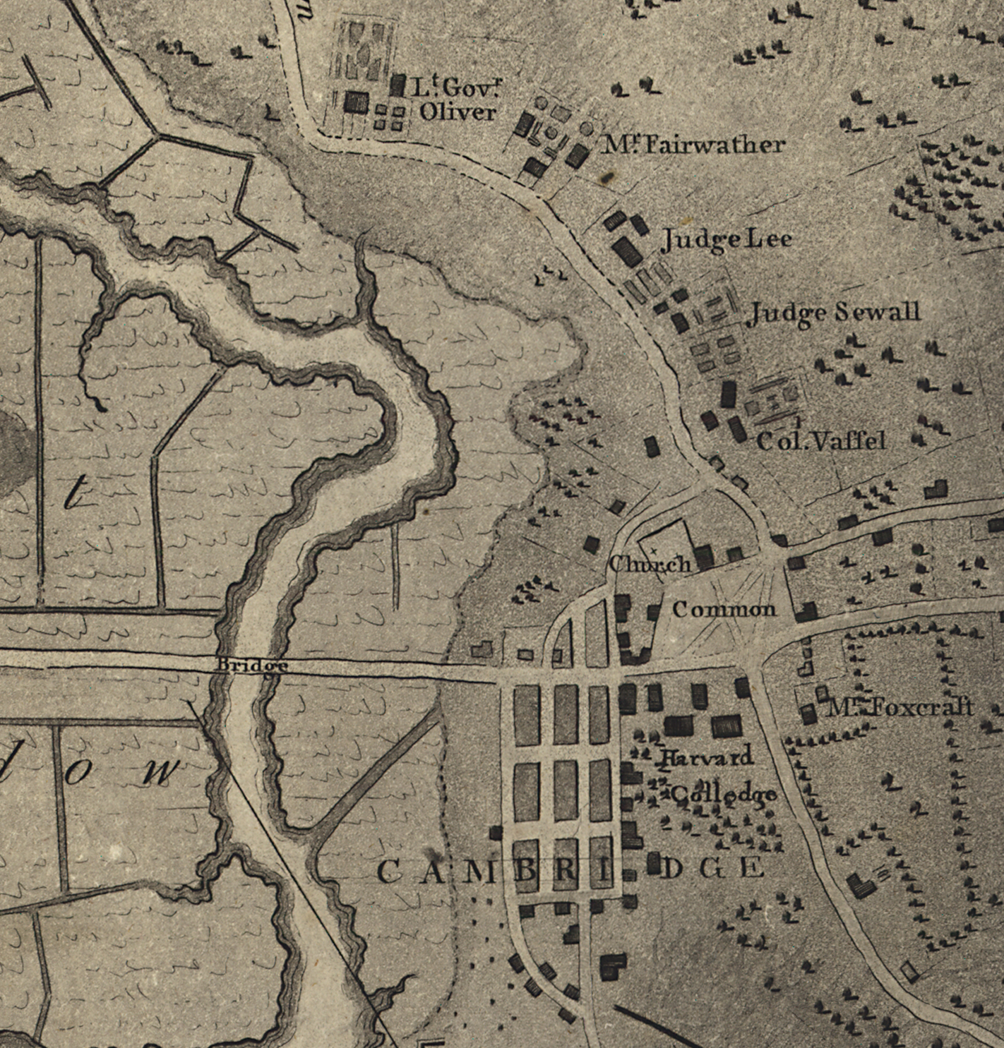 "Darby Vassall's Boston World. Detail of Henry Pelham, ""A plan of Boston in New England with its environs,"" (London, 1777). Library of Congress Geography and Map Division, Washington, D.C."