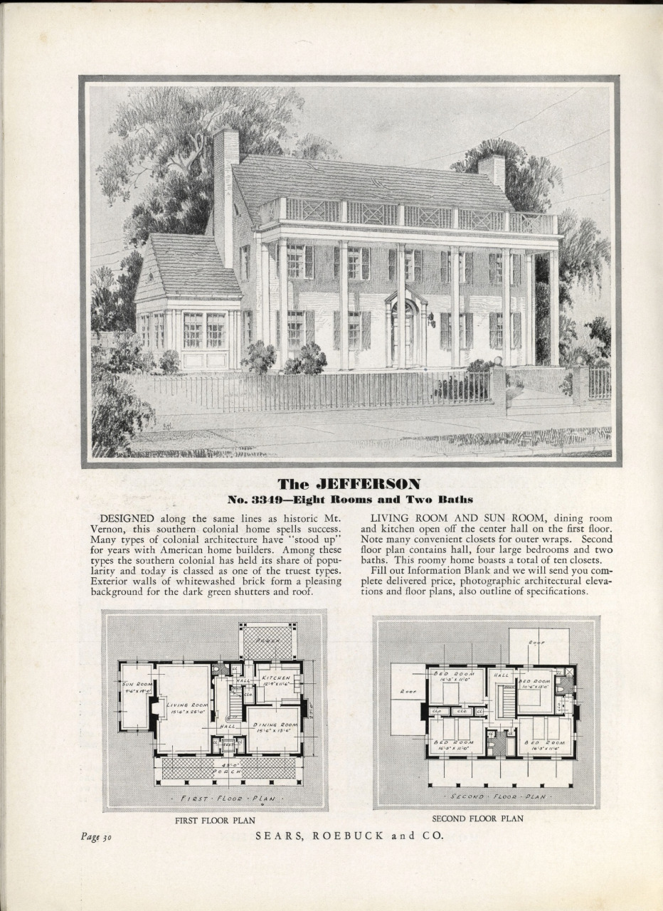 "The ""Jefferson"" in Sears, Roebuck and Company's 1932 Homes of To-day catalogue. Sears Archives."