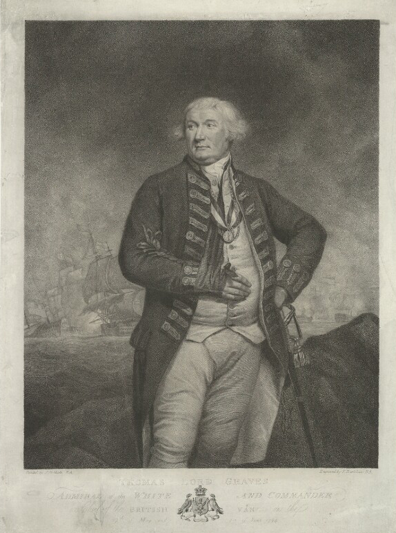 "Francesco Bartolozzi, after James Northcote stipple engraving, ""Thomas Graves, 1st Baron Graves. (After 1794), National Portrait Gallery, London NPG D34805."