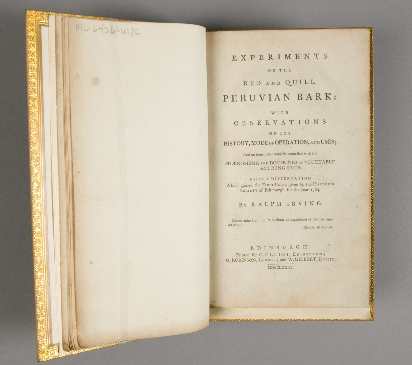 George Washington's copy of Experiments on the Red and Quill Peruvian Bark, book, two pamphlets bound together, MVLA, Gift of Robert L. McNeil, Jr., 2005, Conservation courtesy of the Roller-Bottimore Foundation [ML-6426-W/C]